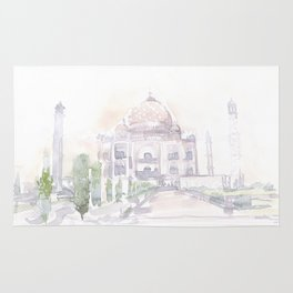 Watercolor landscape illustration_India - Taj Mahal Rug