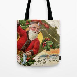 Antique Santa wih pipe Merry Christmas Tote Bag