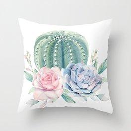 Cactus Rose Succulents Throw Pillow
