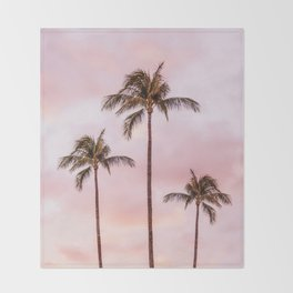 Palm Tree Photography Landscape Sunset Unicorn Clouds Blush Millennial Pink Throw Blanket