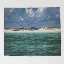 Boardwalk At Shell Island  Throw Blanket