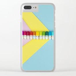 Happy little rainbow pills Clear iPhone Case