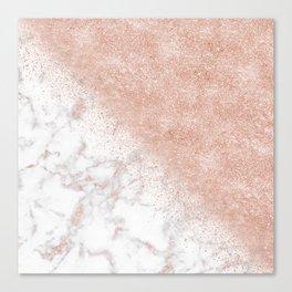 Elegant faux rose gold confetti white marble image Canvas Print