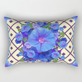 Cream Color Purple Pattern Blue Floral Rectangular Pillow