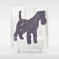 terrier Shower Curtains featuring Airedale Terrier by Three Black Dots