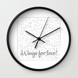 Wings for love Wall Clock