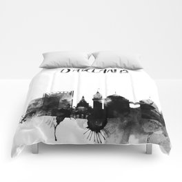 Oakland Black and White Skyline poster Comforters