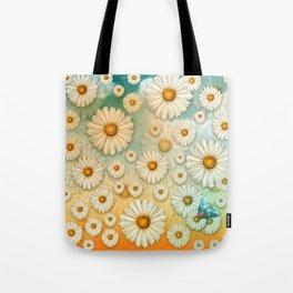 """Turquoise Moth &  Marguerites"" Tote Bag"