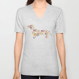 Dachshund - Watercolor/Floral Unisex V-Neck