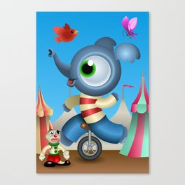 Little Elephant in the circus Canvas Print