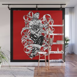 Lady in Belts Fantasy on red.  Yury Fadeev. Wall Mural