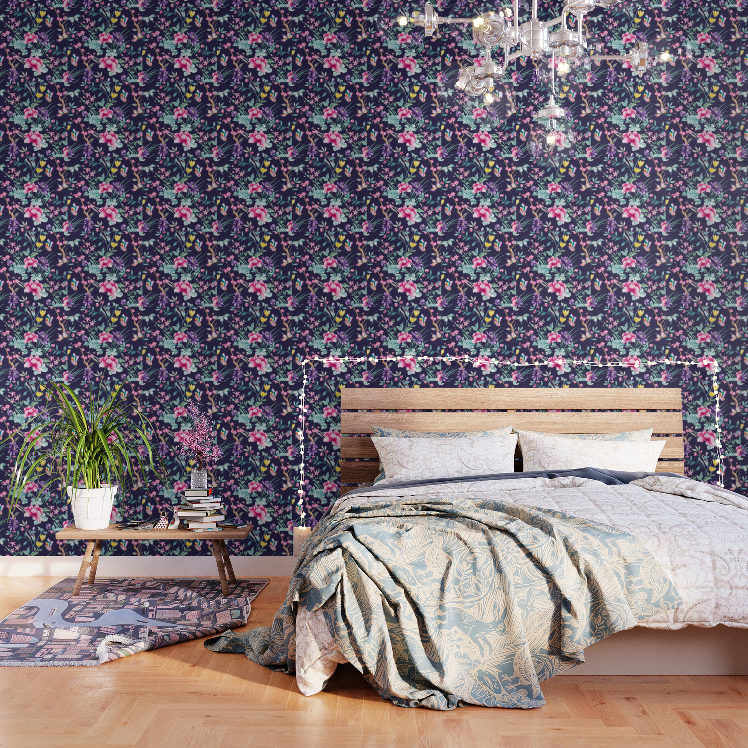Chinoiserie French Navy Floral Wallpaper By Peggieprints Society6