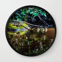 Eight Mallard ducklings Wall Clock