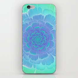 Romantic blue and green flower, digital abstracts iPhone Skin