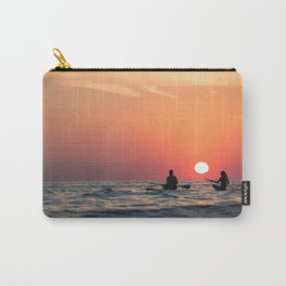 man woman boat rowing in sea Carry-All Pouch