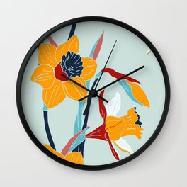 Mid Century spring flowers Wall Clock
