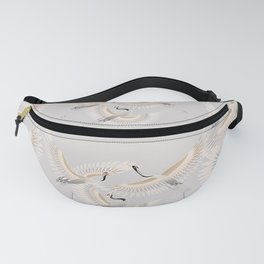 traditional Japanese cranes bright illustration Fanny Pack