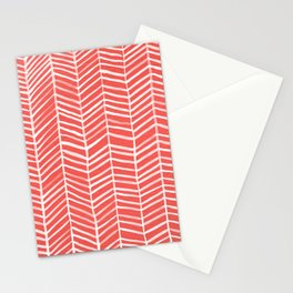Coral Herringbone Stationery Cards
