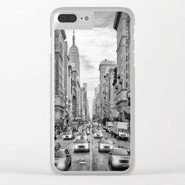 NEW YORK CITY 5th Avenue Traffic   Monochrome Clear iPhone Case
