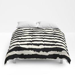 Tribal Stripes Black on Cream Comforters