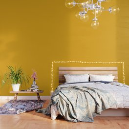 Bright Bee Yellow Simple Solid Color All Over Print Wallpaper