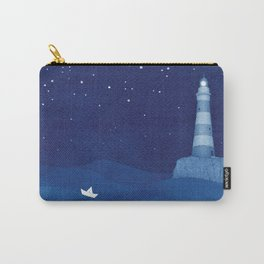 Lighthouse & the paper boat, blue ocean Carry-All Pouch