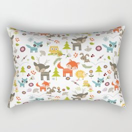 Cute Woodland Creatures Pattern Rectangular Pillow