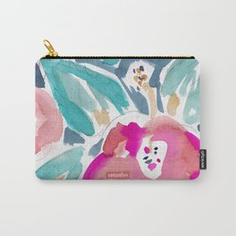 Peach Hibiscus Carry-All Pouch