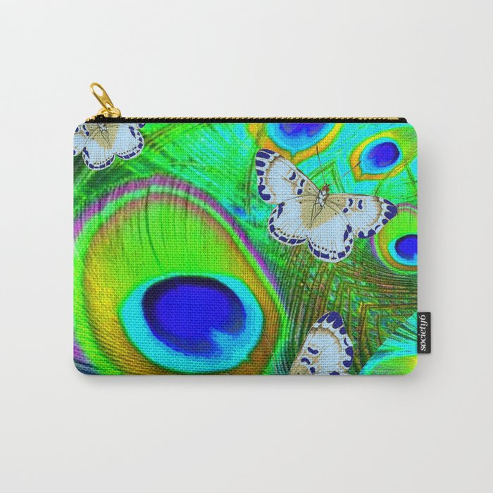 GREEN PEACOCK FEATHERS  & WHITE BUTTERFLIES FANTASY ART Carry-All Pouch