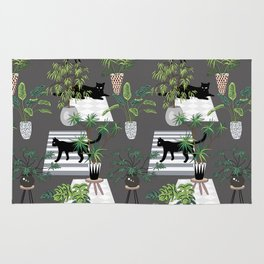 cats in the interior dark pattern Rug