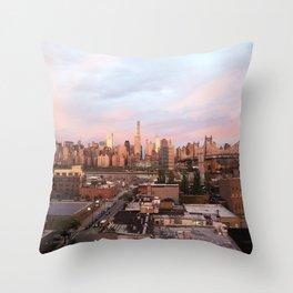 Manhattan City Skyline from Queens at Sunrise Throw Pillow