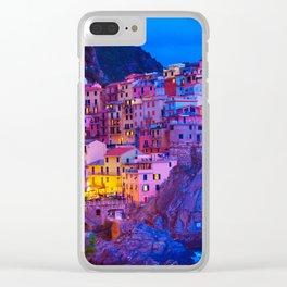 Manarola Cinque Terre Italy at Night Clear iPhone Case