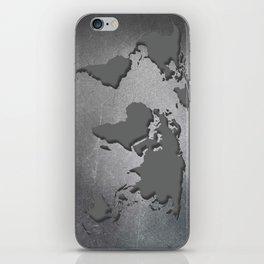 World Map Metal engraved iPhone Skin