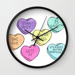Honest Candy Hearts Wall Clock
