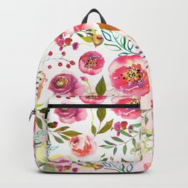 blush pink peonies watercolor fuchsia flowers Backpack