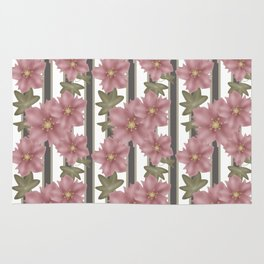 The floral pattern on striped background . Rug