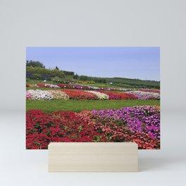 Floral patchwork under a blue sky Mini Art Print