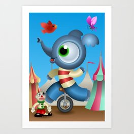 Little Elephant in the circus Art Print