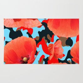 Poppie Camouflage Red Blue Rug