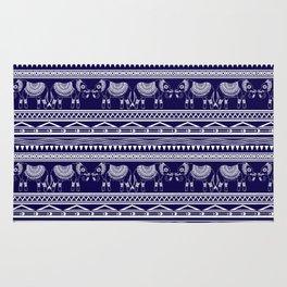 White and Navy Blue Elephant Pattern Rug