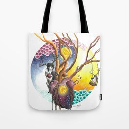 Antlered Girl and Penguin with Heart and Trees, Sun, Moon, Sky and Ocean. Tote Bag