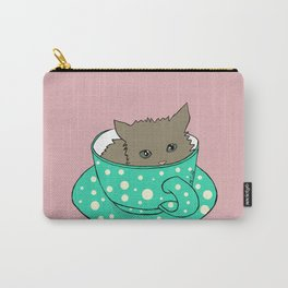 Fluffy Kitten In A Teacup Pink Background Carry-All Pouch