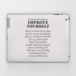 Improve yourself, motivational list for good habits, workout, daily routine, set life goals Laptop & iPad Skin