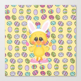 Easter Chick with Bunny Ears Canvas Print