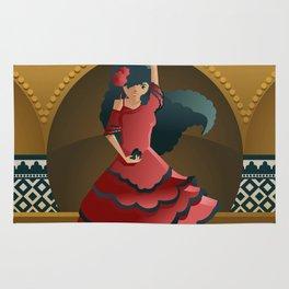 flamenco girl dancing on stage Rug