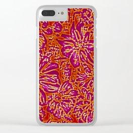 Marigold Lino Cut, Batik Red And Purple Clear iPhone Case