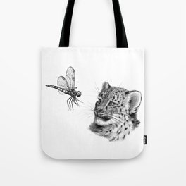 Snow leopard cub and dragonfy G148 Tote Bag