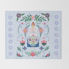 Fairy Tale Folk Art Garden Throw Blanket
