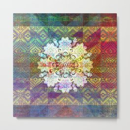Colorful Snowflake Mandala Metal Print
