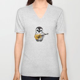 Musical Baby Penguin Playing Acoustic Guitar on Deep Red Unisex V-Neck